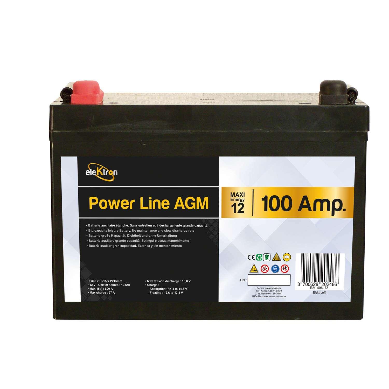 batteria power line agm 100ah largxaltxprof 306 x 215 x 169 mm. Black Bedroom Furniture Sets. Home Design Ideas