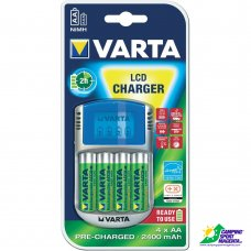 VARTA - LCD Charger incl. 4 x AA da 2400mAh R2U + 12V + USB IN