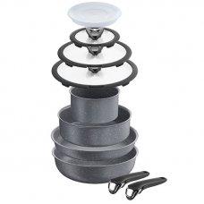 Batteria INGENIO 10pzi: padella 28 + tegame 24 +  fonda 16 + wok 28   + 2 manici +  coperchio vetro 16/24/28 + cop plastica 16
