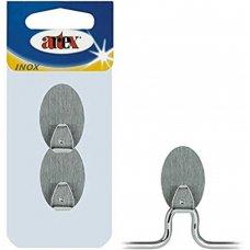 2 GANCI SUPPORTO INOX ADESIVI ART. 220290